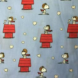 Fabric Snoopy vs Red Baron Print Christmas Peanuts matches p