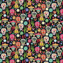Fabric Sugar Skulls Day of Dead Dear Stella Black Cotton 1/4
