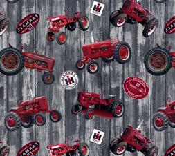 Farmall Hometown Life Tossed Tractors Woodgrain Cotton Quilt
