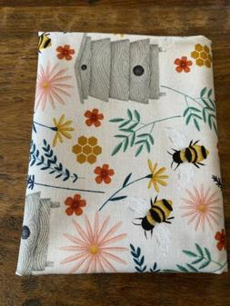 Fat Quarter Bees Beehives Wildflowers Floral Cotton Quilting