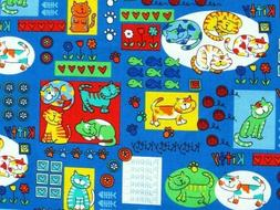 FAT QUARTER CAT FABRIC  PURRR  KITTENS  KITTIES  FUN COLORFU