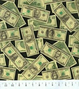FAT QUARTER FABRIC CASH MONEY DOLLAR BILLS  TOSSED MONEY NOV