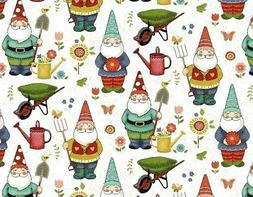 FAT QUARTER FABRIC  GARDEN GNOMES  GNOME  ELF  FUN NOVELTY M