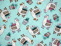 FAT QUARTER FABRIC  LLAMAS & PLANTS  ALPACA CUTE NOVELTY COT