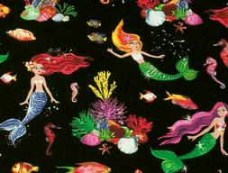 FAT QUARTER FABRIC  MERMAIDS SEA HORSES COLORFUL CORAL  FUN