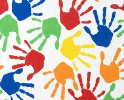 FAT QUARTER FABRIC  PAINTED HANDS  HAND PRINTS  COLORFUL FUN