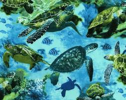 FAT QUARTER FABRIC  SEA TURTLES  OCEAN  TROPICAL FISH  TURTL