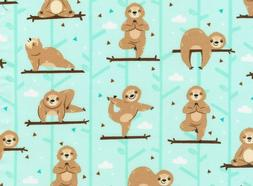 FAT QUARTER FABRIC SLOTH VIBES YOGA SLOTHS ON AQUA  POSES FU