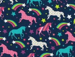 FAT QUARTER  UNICORNS & STARS FABRIC  RAINBOWS UNICORN  FUN
