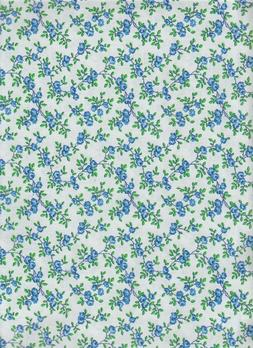 Floral fabric 100% Cotton-1/2 yardBlue calico  quilt mask ma