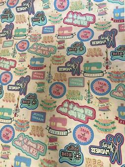 FUN sewing hobby on pink novelty cotton Fabric per yd sew cr