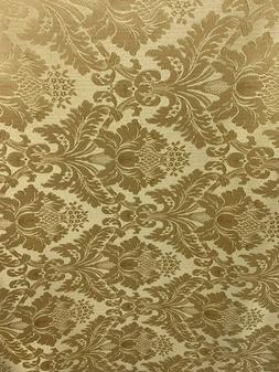 GOLD Damask Jacquard Brocade Flower Floral Fabric  Sold By T