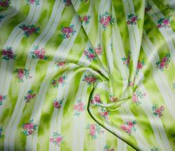 """Green & Pink Stripe Floral Fabric Sateen 45"""" Material by the"""