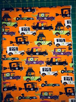 Halloween Monsters in Cars Race Cotton Fabric by the FQ fat