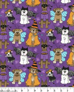 Halloween Pup Dogs Wearing Costumes Cotton Purple Fabric Tra