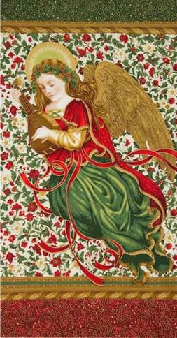 "Robert Kaufman Holiday Flourish Holiday 24"" Angel Panel"