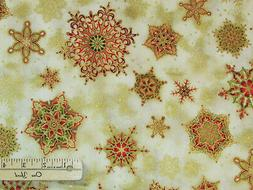 Holiday Flourish Country GOLD Snowflake Kaufman Fabric by th