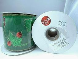 """RELIANT RIBBON, HOLLY DESIGN/GREEN , SEQUINS, 4"""" X 5 YARDS,"""