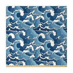 Lunarable Japanese Wave Fabric by The Yard, Stormy Sea with
