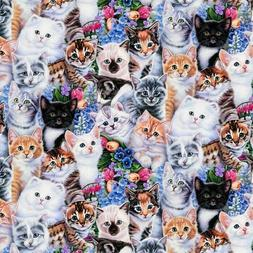Kittens and flowers cat floral animal Premium 100% Cotton Fa