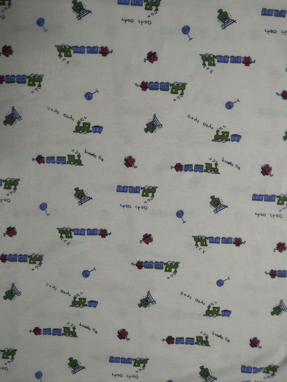 2 yards cotton knit fabric with trains