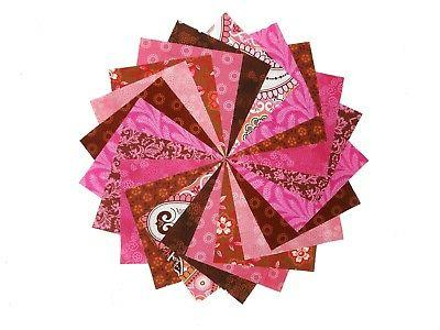 40 5 quilting fabric squares beautiful pink