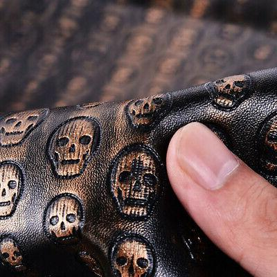 A4 Vintage Skull Pattern PU Leather Fabric Synthetic Leather