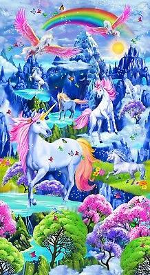 Bright Majestic Unicorns Timeless Treasures Fabric  by the 2