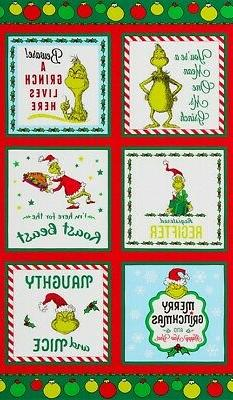 """Dr. Seuss How the Grinch Stole Christmas Block Panel   23"""""""
