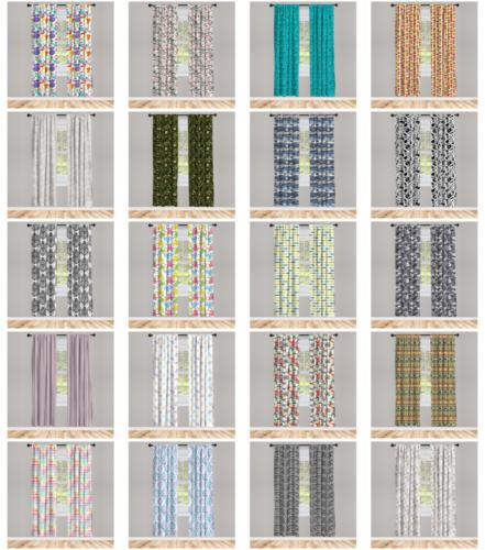 fabric 2 panel curtain set with 3