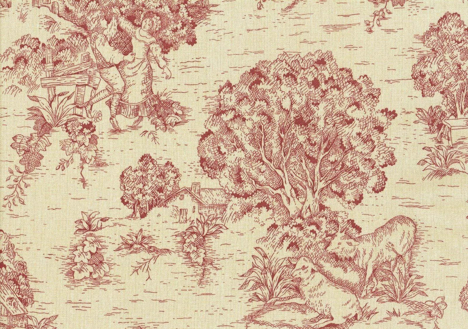 fabric red toile cotton print drapery upholstery