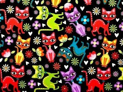 fat quarter fabric cats kitty kittens colorful