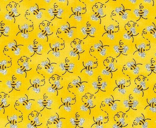 fat quarter fabric mini bumble bees metallic