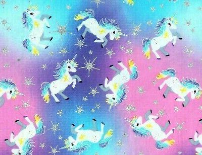 fat quarter unicorns and stars fabric pastel