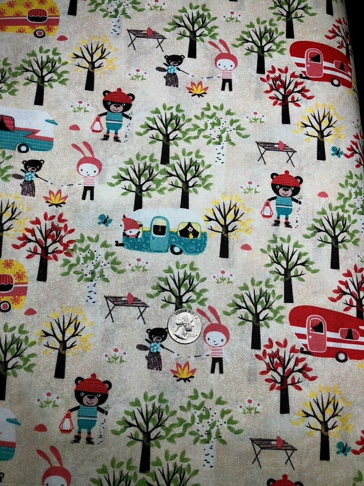 Cotton Quilt Fabric Campers Bears Trees