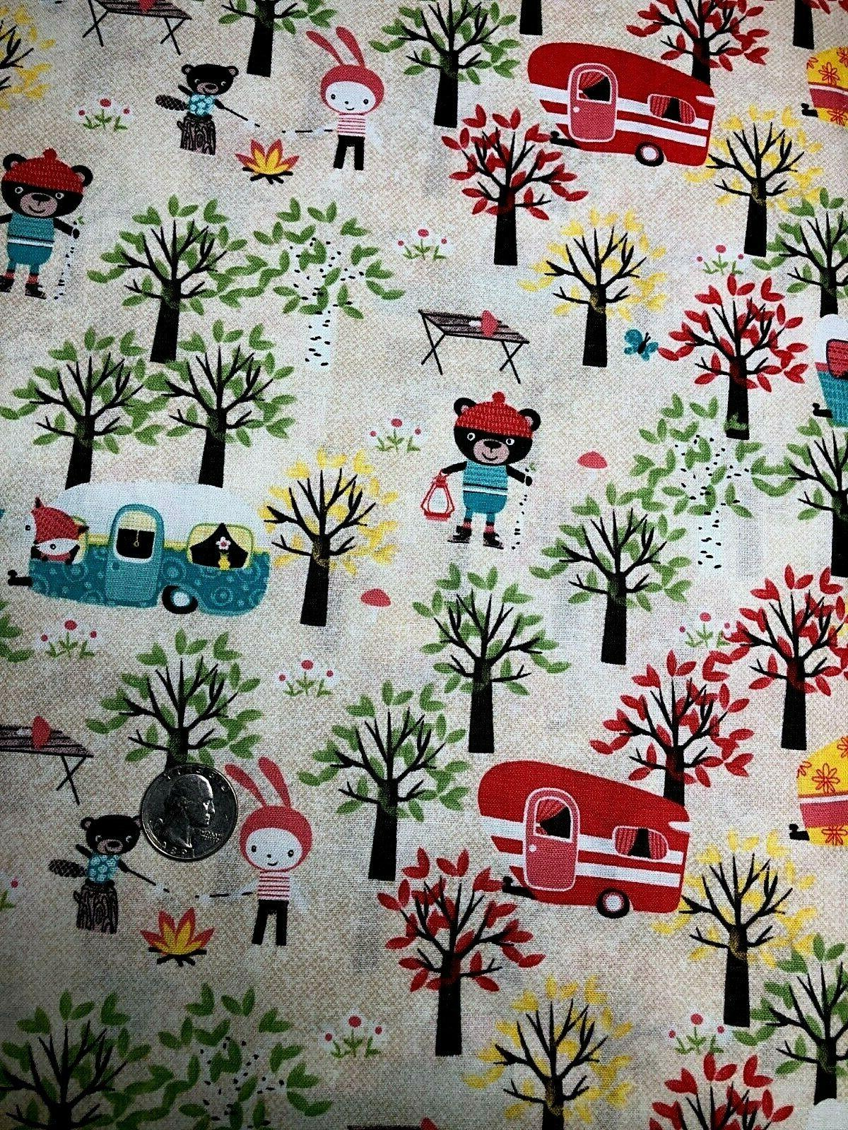 Fat Cotton Fabric Campers Trees FQ