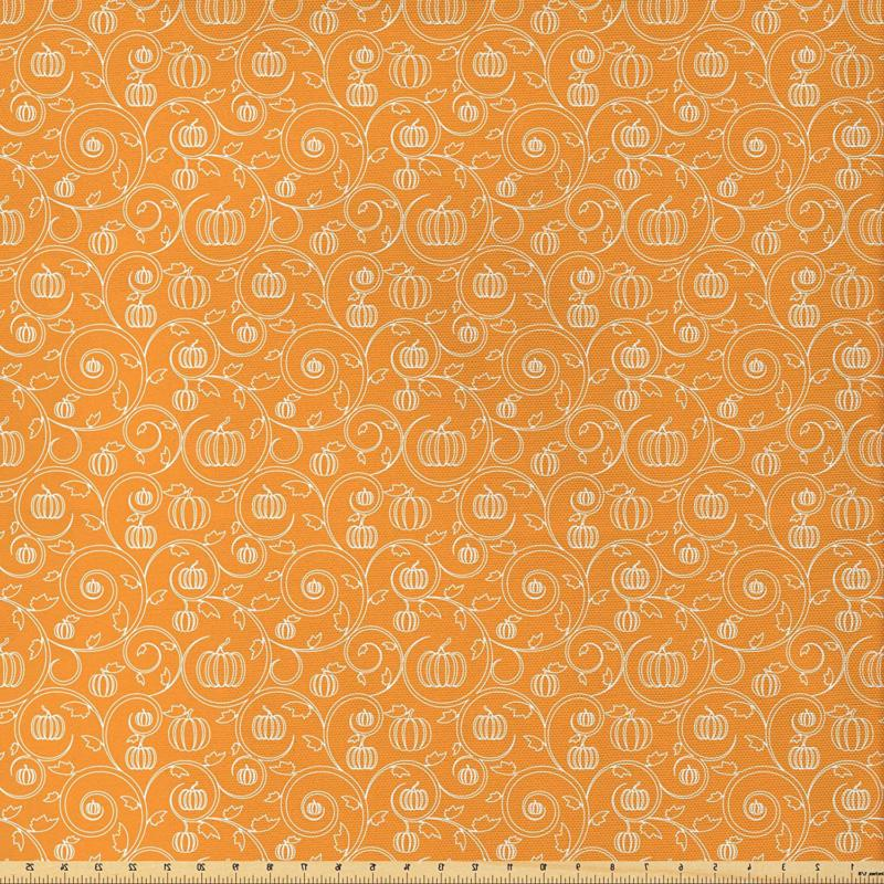 Ambesonne Harvest Fabric By The Yard, Pattern With Pumpkin L