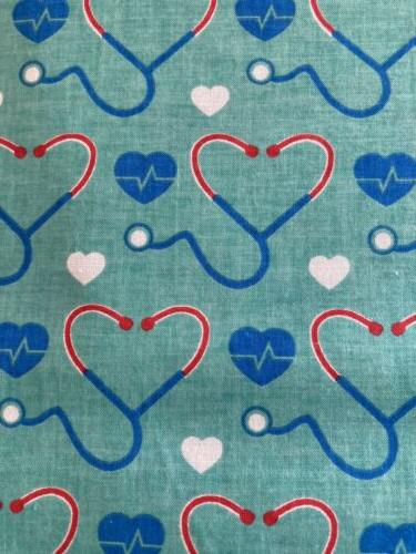 Medical HEARTS STETHOSCOPE Fabric by the Half