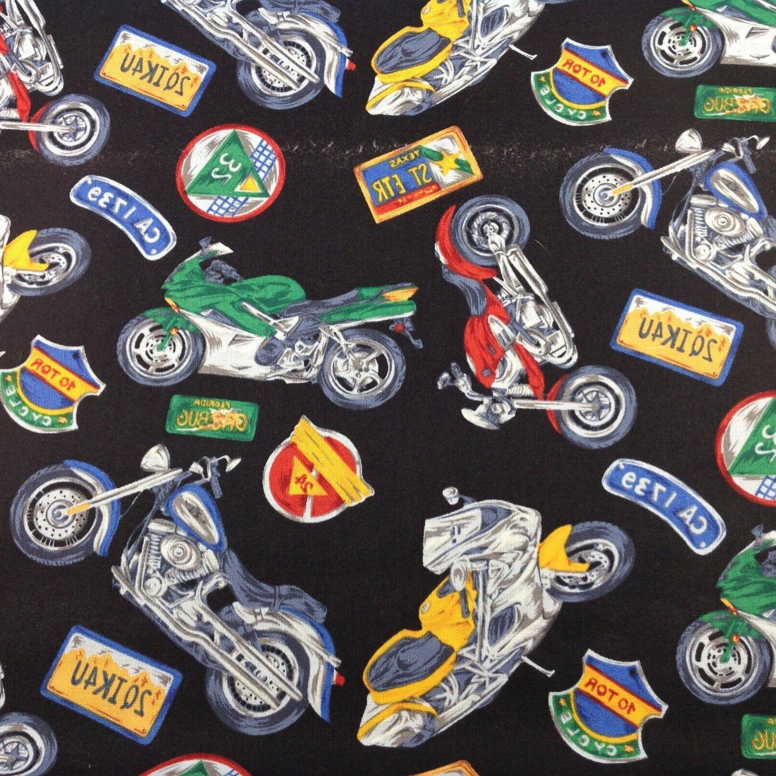 """Motorcycle Motorcyclist Harley cross cotton fabric 18"""""""
