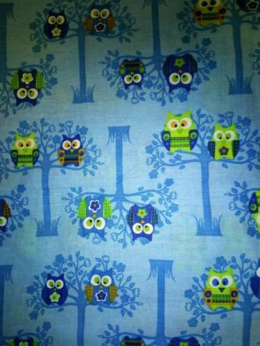 products sitting pretty owls blue cotton fabric