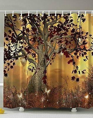 Shower Curtain Old Twisted Tree Print Water Proof Polyester