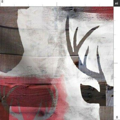 Spray Painted Deer Wood Fabric Printed by