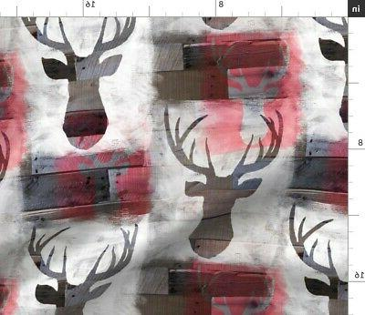 spray painted deer white wood antlers fabric