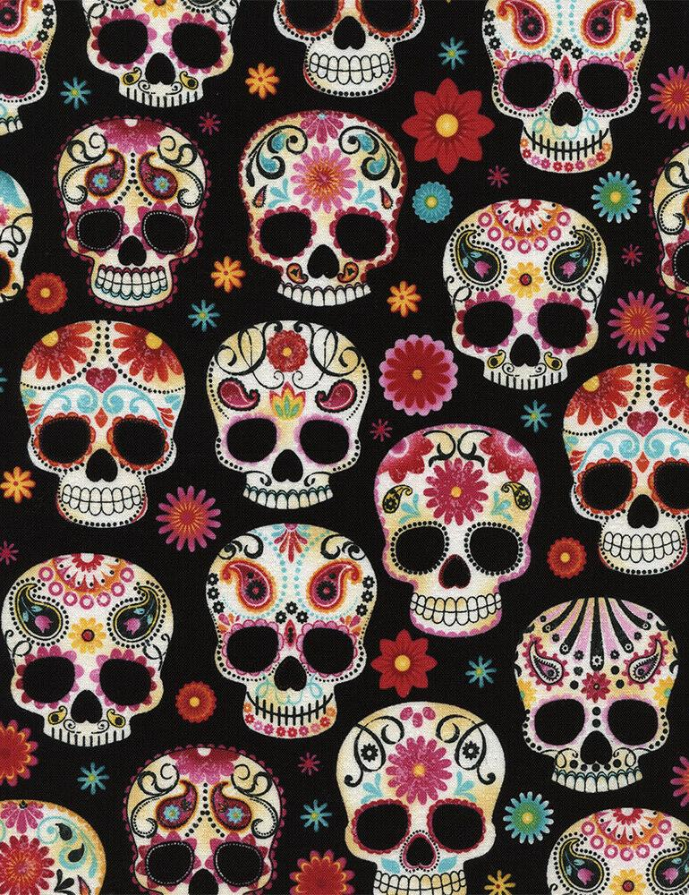 sugar skulls fabric day of the dead