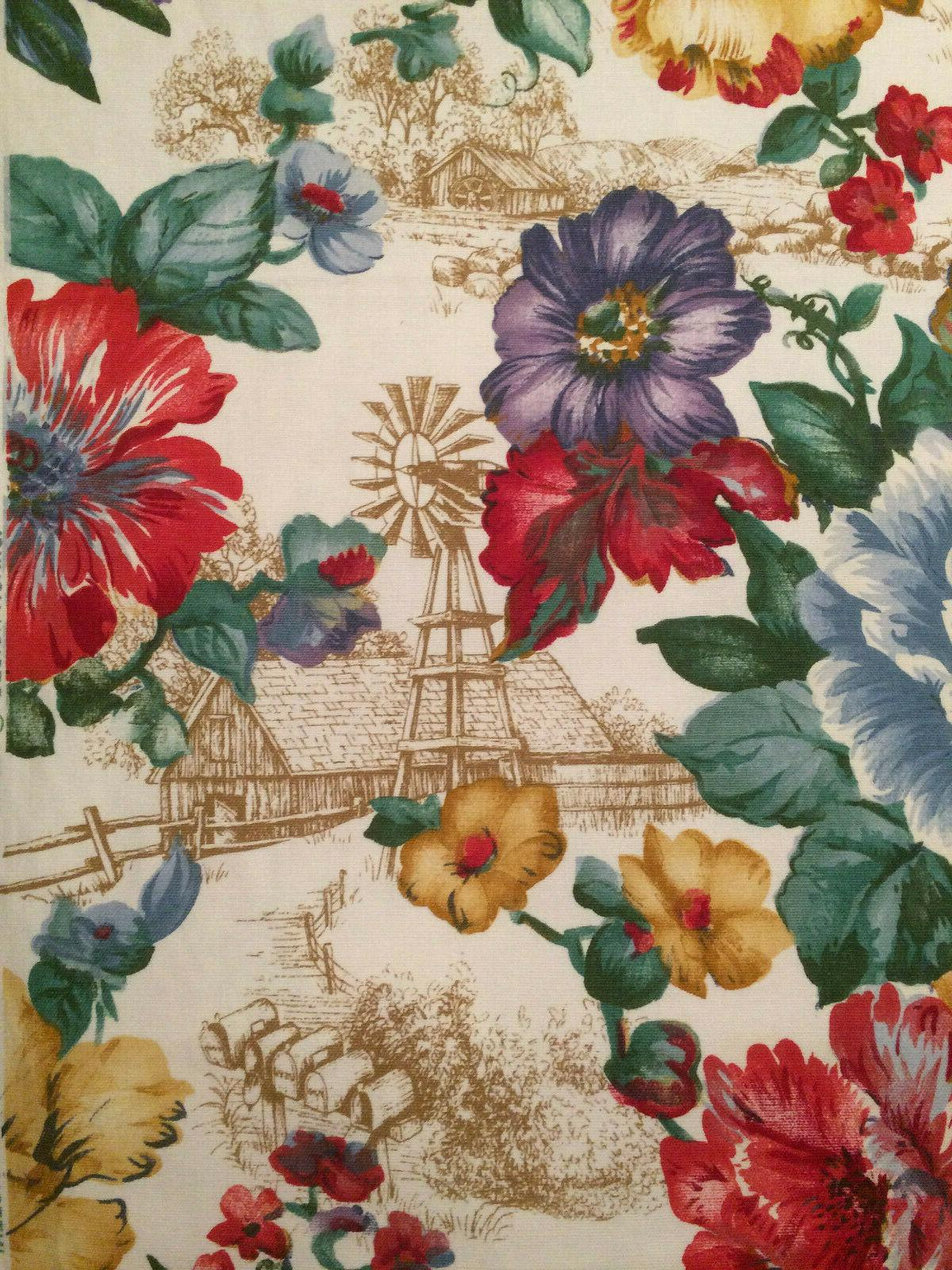 "Vtg Fabric Inc Original Fabric 56"" X 15 Yd Floral Country Toile"
