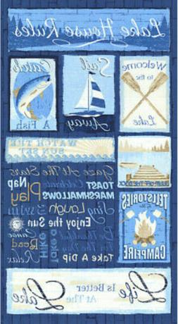 Timeless Treasures LAKE HOUSE RULES Fabric PANEL CABIN FISHI