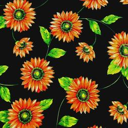 Large Summer Sunflower Theam Floral Black Poly Cotton Fabric