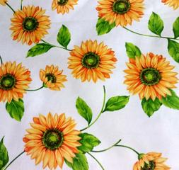 Large White Summer Sunflower Theam Floral Poly Cotton Fabric