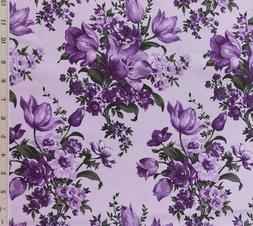 Lavender Lilac Purple Floral Cotton Quilting Fabric Gallery