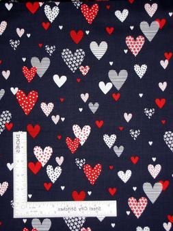 Love American Style Patriotic Hearts Blue Cotton Fabric Bena